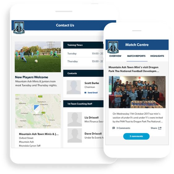 Mountain Ash Pitchero Club Website tablet and mobile mockup