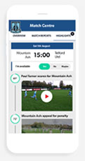 Mountain Ash FC Pitchero Club app mockup