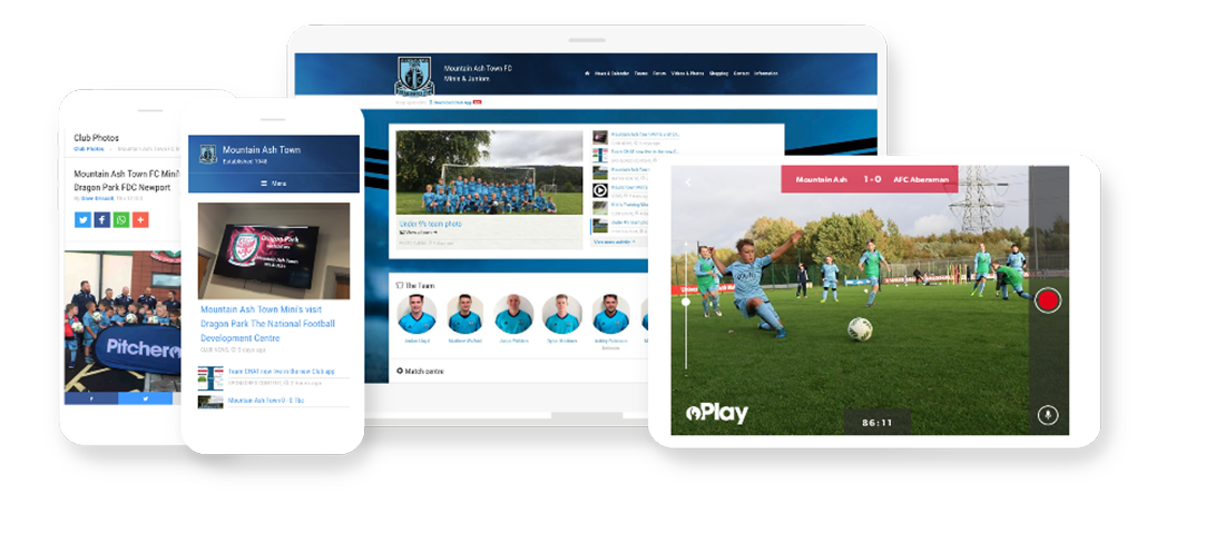 Mountain Ash Pitchero Club Website and Mobile apps mockup