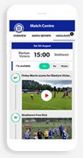 Blantyre Victoria FC Pitchero Club app mockup