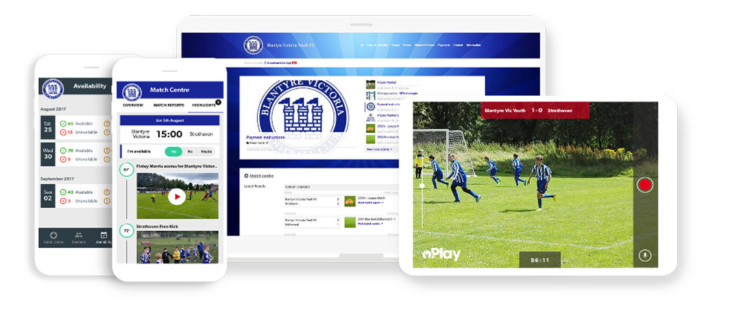 Blantyre Victoria FC Pitchero Club Website and apps mockup