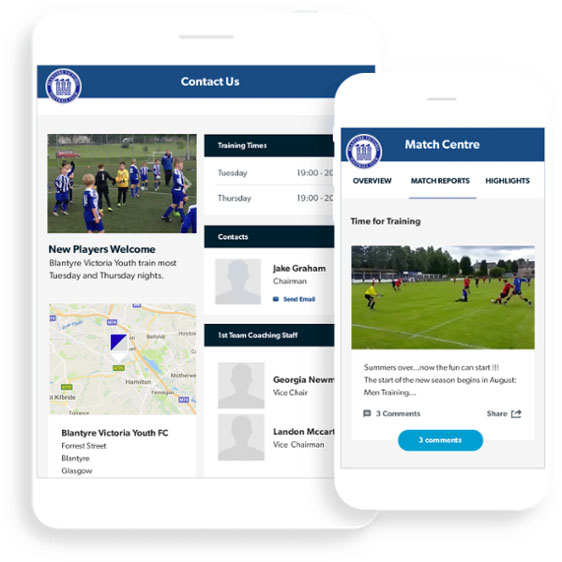 Blantyre Victoria FC Pitchero Club website tablet and mobile mockup