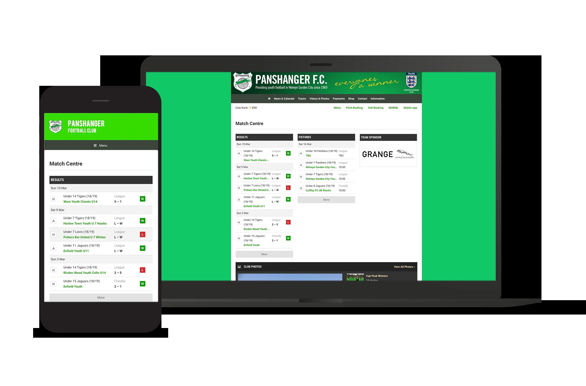 Panshanger FC Screens