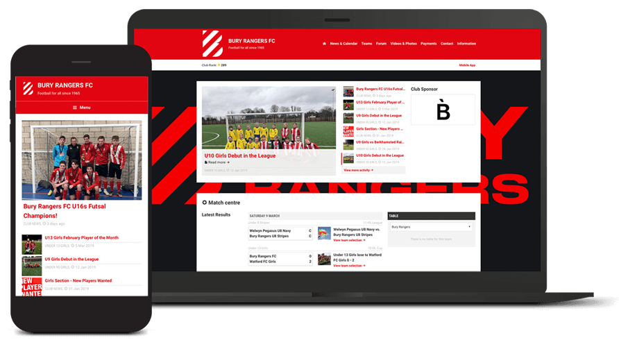 Pitchero Works example club design Bury Ranger FC