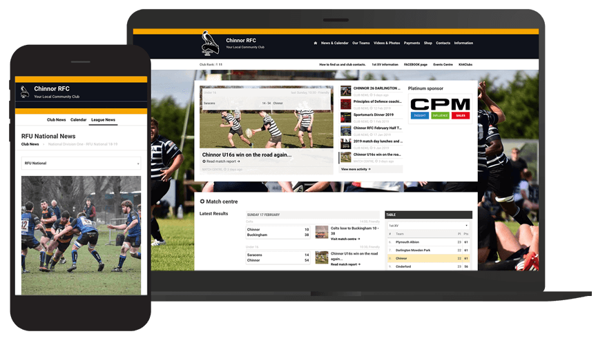 Pitchero Works example club design Chinnor Rugby Club