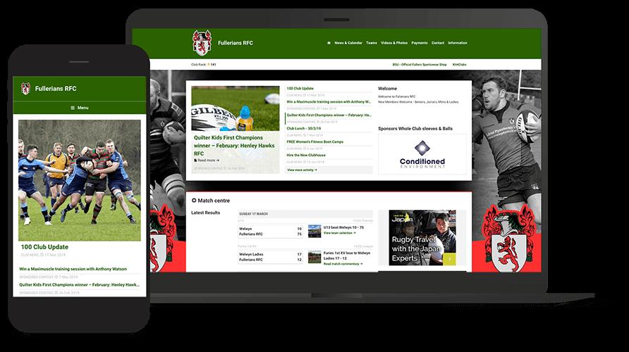 Pitchero Works example club design Fullerians RFC
