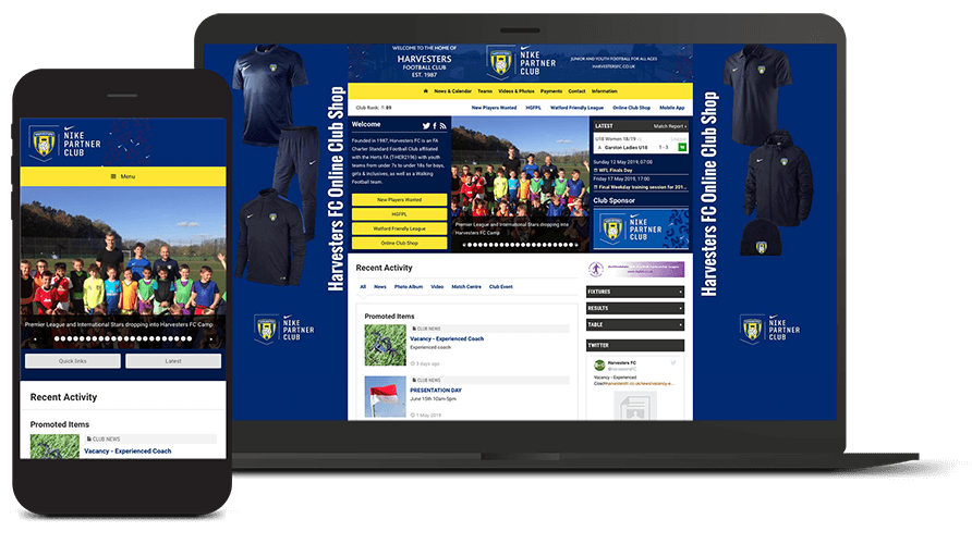 Pitchero Works example club design Harvesters Football Club