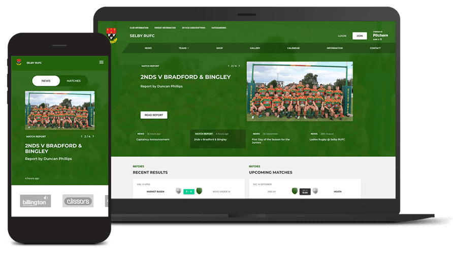 Pitchero Works example club design Selby Rugby Club