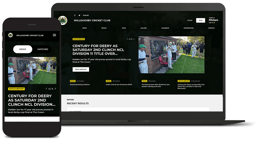 Pitchero Works example club design Willoughby Cricket Club
